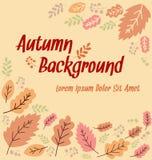 Progettazione astratta del fondo dell'insegna della foglia di autunno di vettore con lo spazio del testo illustrazione di stock