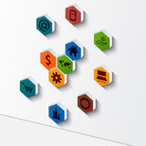 Progettazione astratta del modello del fondo-infographic del poligono 3D Immagine Stock