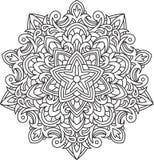 Progettazione astratta del pizzo del nero di vettore nella mono linea stile - five-fing illustrazione di stock