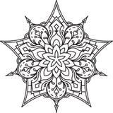 Progettazione astratta del pizzo del nero di vettore nella mono linea stile - five-fing illustrazione vettoriale