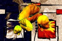 Progettazione astratta dell'illustrazione di arte di divertimento della pittura a olio del fiore illustrazione di stock