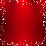 Progettazione astratta delle bolle del cuore con fondo rosso Immagine Stock