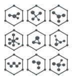 Progettazione astratta delle icone della molecola Fotografia Stock
