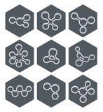Progettazione astratta delle icone della molecola Immagine Stock Libera da Diritti