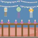 Progettazione astratta di dewali con le lanterne e le candele sul bello fondo di colore illustrazione di stock