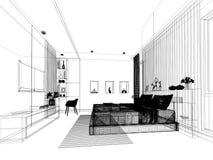 Progettazione astratta di schizzo della camera da letto interna Immagine Stock Libera da Diritti
