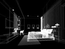 Progettazione astratta di schizzo della camera da letto interna Immagini Stock