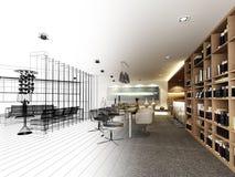 Progettazione astratta di schizzo di pranzare interno Fotografie Stock