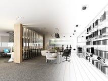 Progettazione astratta di schizzo di pranzare interno illustrazione vettoriale