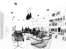 Progettazione astratta di schizzo di pranzare interno royalty illustrazione gratis