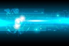 Progettazione astratta di tecnologia di vettore con vario tecnologico su fondo blu Immagine Stock