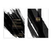 Progettazione astratta nera Inchiostri la pittura sull'elemento dell'opuscolo isolato su fondo bianco Fotografie Stock Libere da Diritti