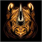 Progettazione atletica di rinoceronte completa con l'illustrazione di vettore della mascotte del rinoceronte Fotografie Stock Libere da Diritti