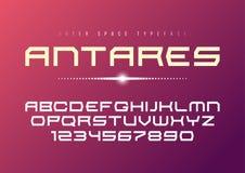 Progettazione audace decorativa della fonte di vettore futuristico di Antares, alfabeto, illustrazione vettoriale