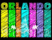 Progettazione bianca di Orlando su fondo scribacchiato variopinto Vettore con le icone ed i fuochi d'artificio di viaggio Cartoli illustrazione vettoriale