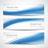 Progettazione bianca di vettore dell'onda blu astratta dell'intestazione Immagini Stock