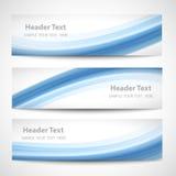 Progettazione bianca di vettore dell'onda blu astratta dell'intestazione Immagine Stock
