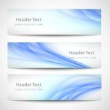 Progettazione bianca di vettore dell'onda blu astratta dell'intestazione Fotografia Stock