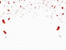 Progettazione bianca rossa, fondo di saluto di August Happy Independence Day di concetto 17 dei coriandoli Illustrazione di vetto Fotografie Stock