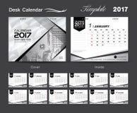 Progettazione bianca stabilita 2017, calendario da scrivania del modello del calendario da scrivania della copertura illustrazione vettoriale