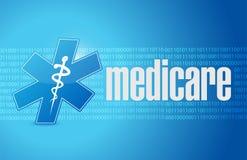 Progettazione binaria dell'illustrazione del segno di Assistenza sanitaria statale illustrazione vettoriale