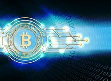 Progettazione blu con il segno del bitcoin e la siluetta di un insieme dei numeri illustrazione di stock