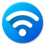 Progettazione blu dell'icona del cerchio di Wifi Fotografia Stock