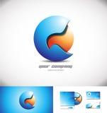 Progettazione blu dell'icona di logo della sfera dell'arancia 3d Immagine Stock Libera da Diritti