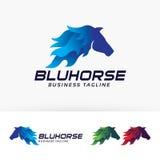 Progettazione blu di logo di vettore del cavallo Fotografia Stock
