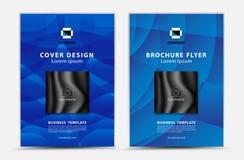Progettazione blu di vettore del modello di copertura, aletta di filatoio dell'opuscolo, rapporto annuale, annuncio di mgazine, p illustrazione vettoriale