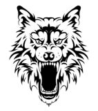 Progettazione capa del tatuaggio del lupo fotografie stock