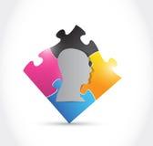 Progettazione capa dell'illustrazione dell'illustrazione di puzzle Fotografia Stock