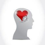 Progettazione capa dell'illustrazione dell'ingranaggio e del cuore illustrazione vettoriale