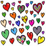 Progettazione capricciosa del fondo del cuore di amore di scarabocchio Immagini Stock Libere da Diritti