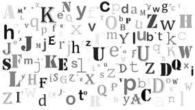 Progettazione casuale del fondo di alfabeto inglese delle lettere su bianco illustrazione di stock