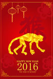 Progettazione cinese del nuovo anno per l'anno di scimmia Fotografia Stock Libera da Diritti