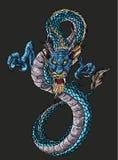 Progettazione cinese del tatuaggio del drago di infinito disegnato a mano Immagine Stock