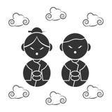Progettazione cinese delle icone del nuovo anno Immagine Stock Libera da Diritti