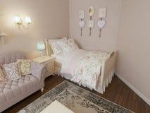 Progettazione classica accogliente della camera da letto Immagine Stock Libera da Diritti