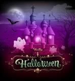 Progettazione classica del castello felice di Halloween royalty illustrazione gratis