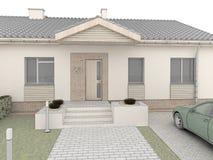 Progettazione classica della casa. Facciata frontale. Fotografia Stock