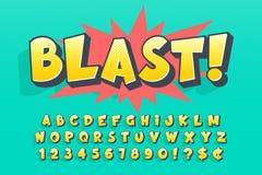 Progettazione comica d'avanguardia della fonte 3d, alfabeto variopinto illustrazione di stock