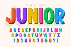 Progettazione comica d'avanguardia della fonte 3d, alfabeto variopinto, carattere illustrazione di stock