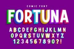 Progettazione comica d'avanguardia della fonte 3d, alfabeto variopinto, carattere illustrazione vettoriale
