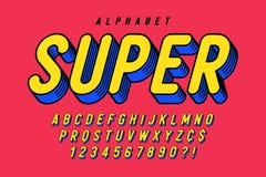 Progettazione comica d'avanguardia della fonte 3d, alfabeto variopinto, carattere royalty illustrazione gratis