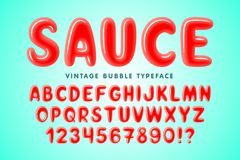 Progettazione comica della fonte della bolla lucida, alfabeto variopinto royalty illustrazione gratis