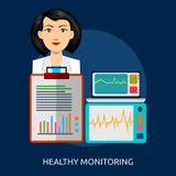 Progettazione concettuale sana del monitoraggio Fotografie Stock Libere da Diritti