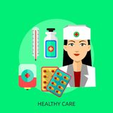 Progettazione concettuale sana di cura Immagine Stock