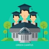 Progettazione concettuale verde della città universitaria illustrazione di stock