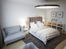 Progettazione contemporanea spaziosa della camera da letto Fotografie Stock Libere da Diritti